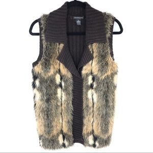 89TH & Madison Brown faux fur sweater vest Size L